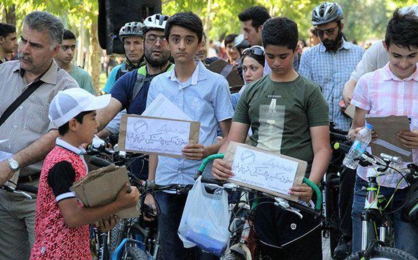 همایش بزرگ دوچرخه سواری در قزوین با شعار نه به کیسههای پلاستیکی