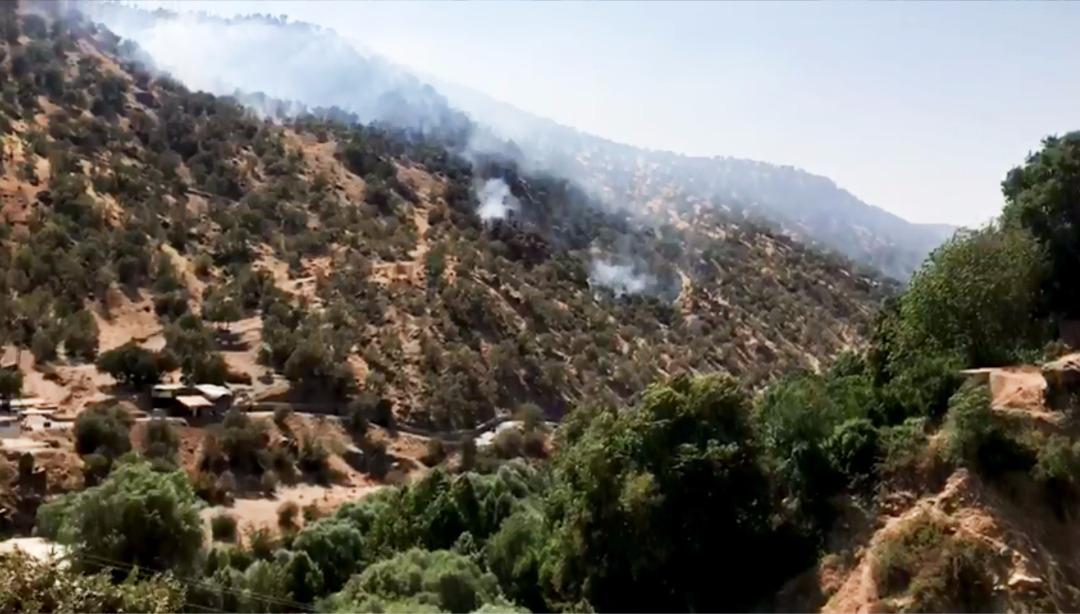 آتش در جنگل بلوط آزادراه خرم آباد پل زال و آبشار بیشه