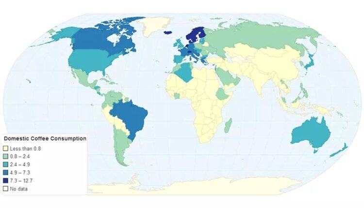 مصرف قهوه روی نقشه