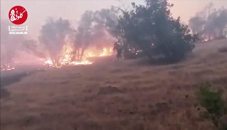 آتش سوزی سبزکوه در چهار محال و بختیاری